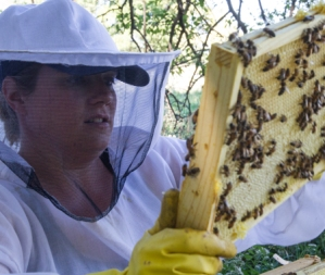 Mindy with bee frame.