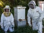Katie and Joe in bee suits kneeling.