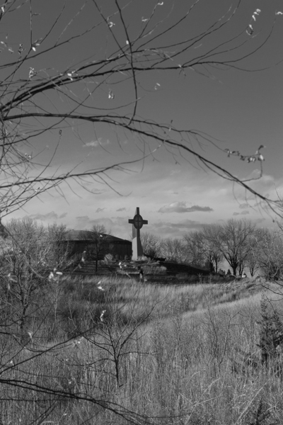 Tower from distance in black and white