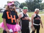 Man dressed as cheerleader