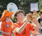 Trumpet player marching