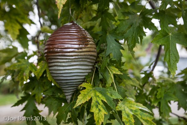 ceramic sculpture in tree