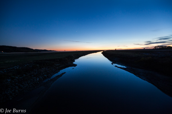River flowing at sunset