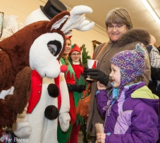 Girl and Rudolph the reindeer