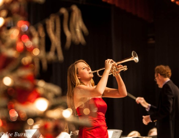 Sierra Jo Stan plays a trumpet solo during the Blair High School Christmas concert in the Blair high school auditorium