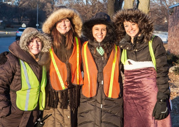 Are they smiling or shivering? Ready for duty,  Ann Chrans, Mariann Andrsen, Ann Chrans, Mariann Andersen Caitlyn Lewis and Maris Andersen are prepared for the zero degree weather.