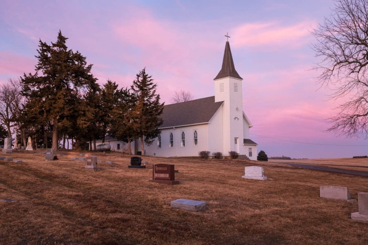 Immanuel Lutheran at twilight, January 19, 2014