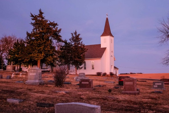 Immanuel Lutheran Church at dusk in January 19.