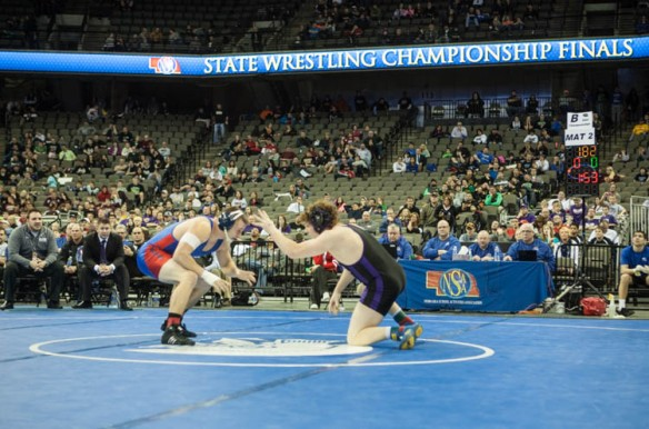 Will Schany meets Jack Barry of Adams Central in 182-pound Class B state title.