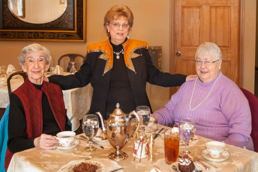 Marian Schaible, Pam Mathiesen, and Iva Johnson enjoy afternoon tea at Our Specialtea in Blair.
