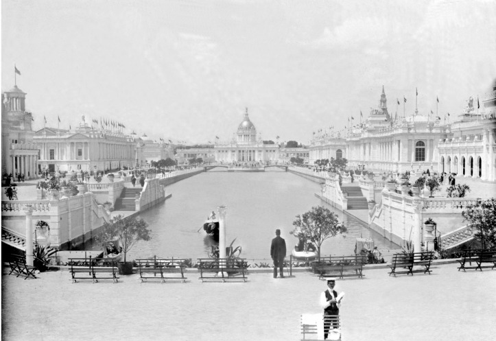Scan from glass negative of the Grand Canal, Trans-Mississipi & International Exposition, 1898.