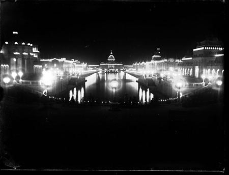 Night time view of the Grand Canal made from a scan of glass negative.