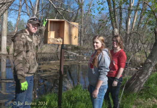 Seniors Grant Kubie, Ashlyn Johnston, and Kristina Campbell inspect a Wood Duck box in the wetlands area along the trail. Replacing a number of these boxes was one of the tasks the students completed as a part of the independent study.