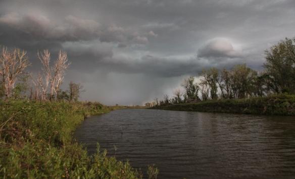 DeSoto Lake as rain storm begins.