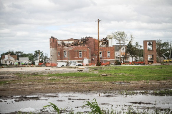 Looking west from Lutheran church site toward Wisner-Pilger Middle School.