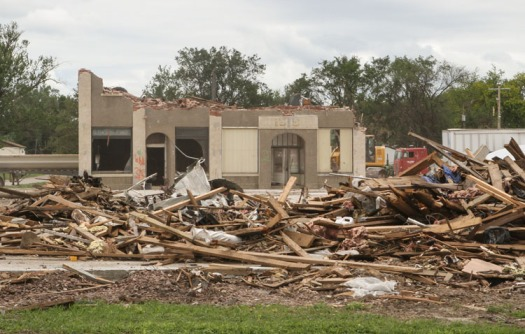 Wrecked co-op building in Pilger.