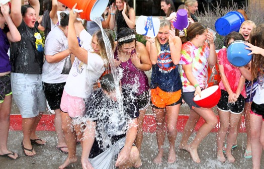 Blair High School Choir completes the ALS  Ice Bucket Challenge pouring ice and water on themselves and each other.  The choir raised ove $1.500 in a challenge against four other schools.