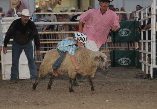Mutton buster Cameron Ruma  from Fort Calhoun.