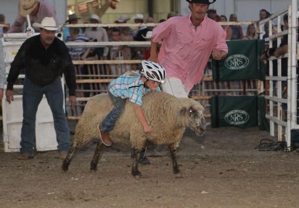 Mutton buster Cameron Ruma  from Fort Calhoun.