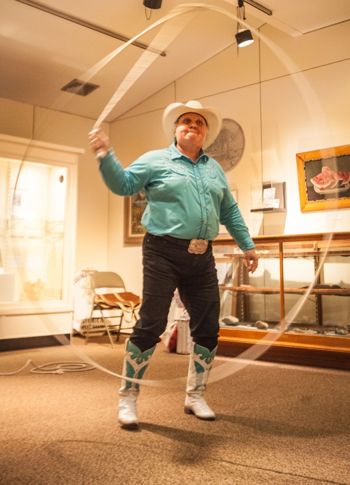 Trick roper Joan Wells performed for young and old.
