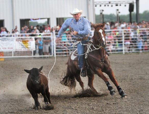 Joe Kimmel ropes calf Friday,
