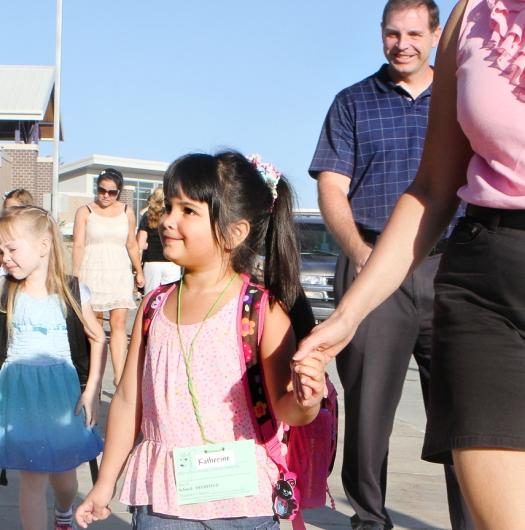 Kindergartner Katie Casto looks forward to her first day of school at Deerfield.