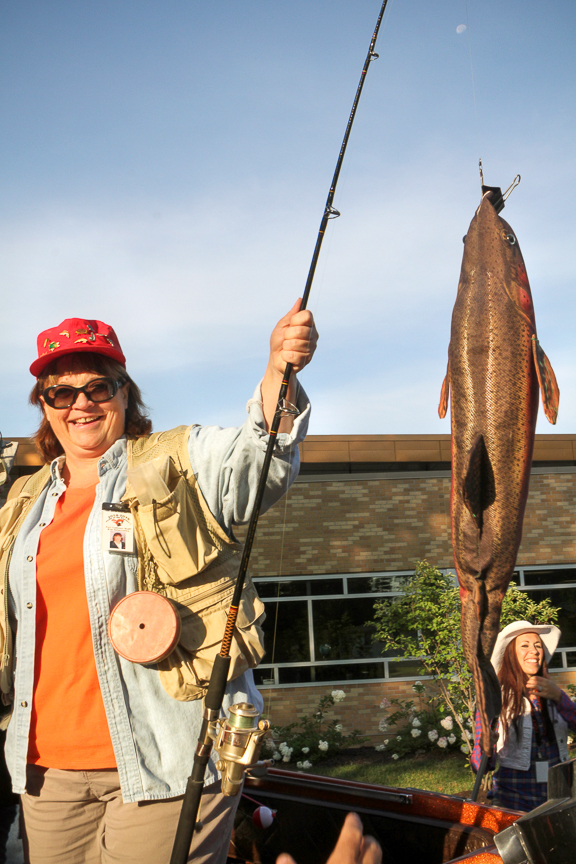 Kim Szlachetka shows off her catch of the day.