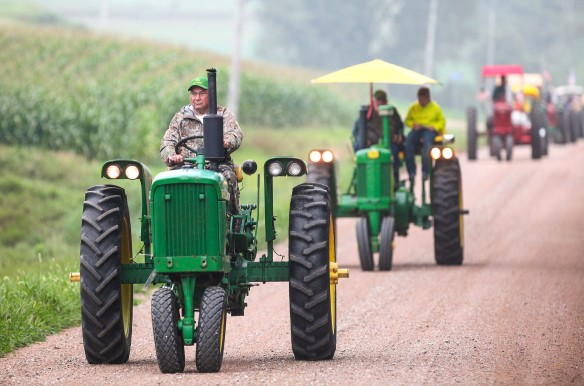 Mike O'Brien leads the tractor ride along county roads south-west of Fort Calhoun during the morning tractor ride.