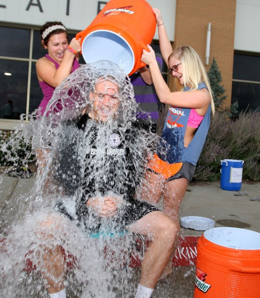 Blair High School techer Kyle Johnson was one of five staff members to take the ALS Ice Bucket Challnge.