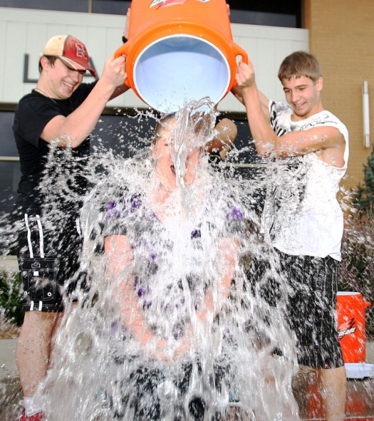 English Teacher Jenny Bruck takes the ALS Ice bucket challenge.