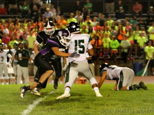 Connor Yost sacks Skutt quarterback.