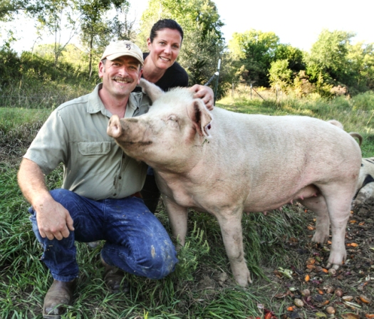 Ben and Michelle Godfrey raise pigs in pasture on their sustainable farm near Fort Calhoun.