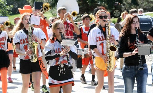 Fort Calhoun band marches in homecoming parade.