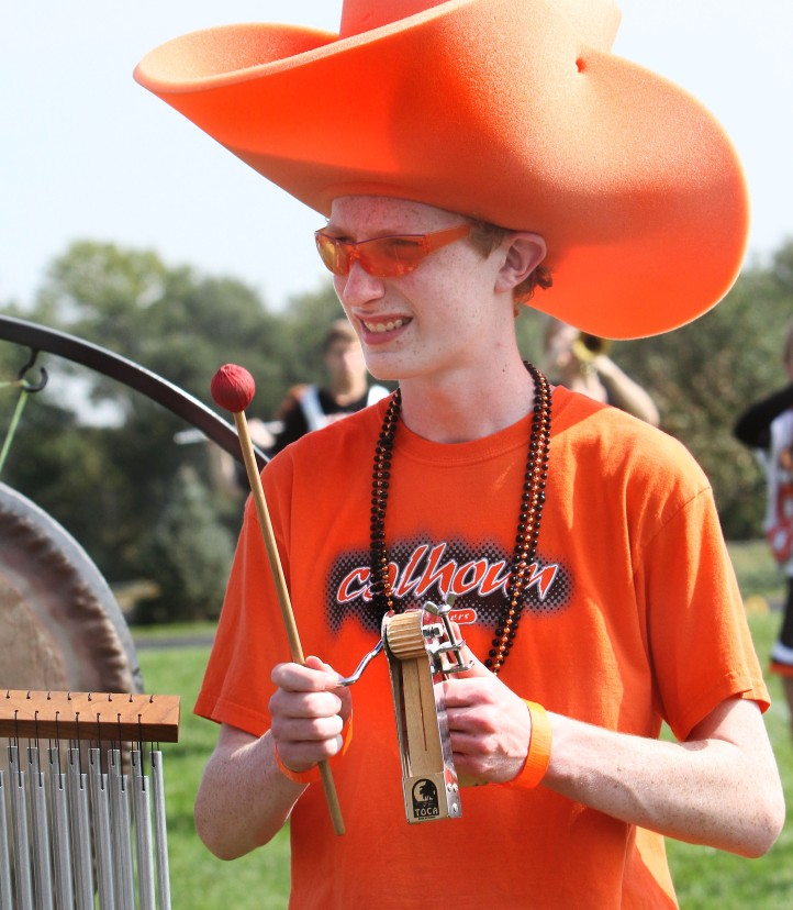 Bradley Lester plays various percussion traps during show perfromance.