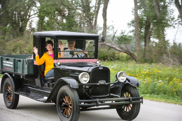 Dan and Shelley Clossen leave Desoto Bend NWR in their 1928 Chevr Capitol  1 ton farm truck.