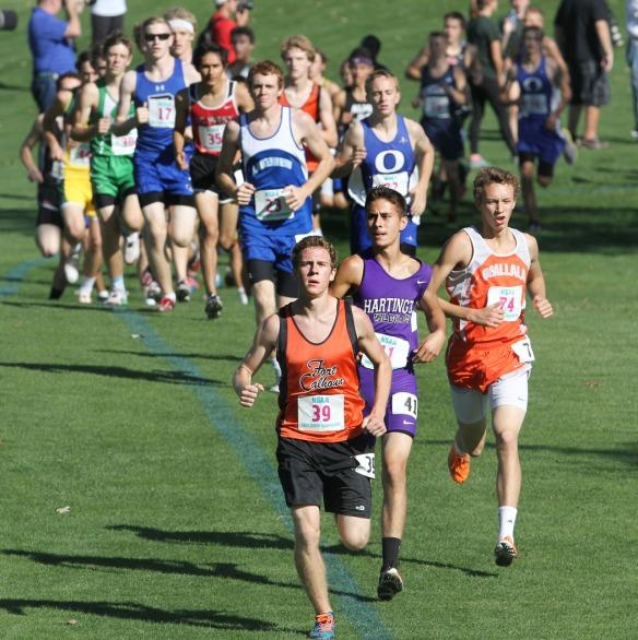 Alex Tietz leads the class C boys runnerr.