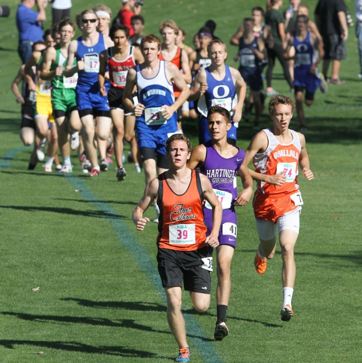 Alex Tietz leads the class C boys runnerr.
