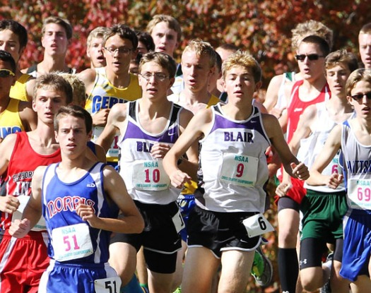Evan and Alec Wick fight for position during the first mile of the boys Class B state champion race.