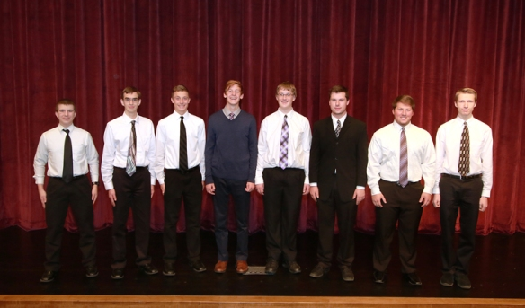 Blair Boys Choir from left: Jacob Wachter, tenor I Caleb Schmidt, bass I Tyler Garder,bssI;  Ryan Mount, bass II; Stephen Novak, tdenor I; Nick Nelsen, bass II; Ryan Fettrs, bass II; Seth Kobs tenor II alternate.