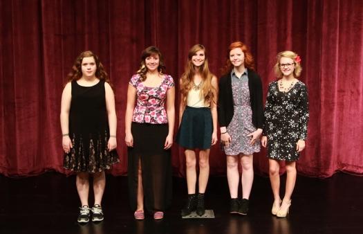Blair Girls Choir from left: Julio Thompson, soprano II alternate; Cheyenne Wachter, sopprano II alternate; Alesha Johnson, altoII; Sarah Kochj, alto I; and Emma Thomas, alto I.