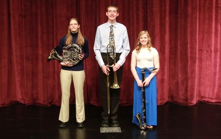 Blair All-State Orchestra Kathleen Thompson, horn; Rustin Haase, trombone;  Teryn Stout, bass clarinet.
