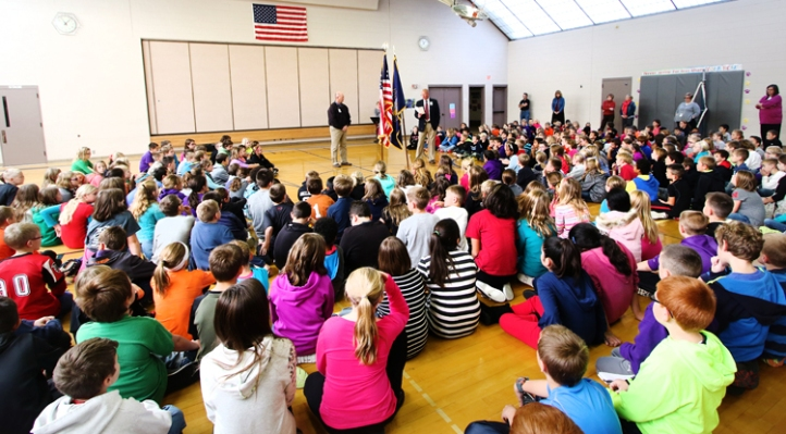 Arbor Park Intermediate School students gather in the school gymnasium for Veterans Day ceremony