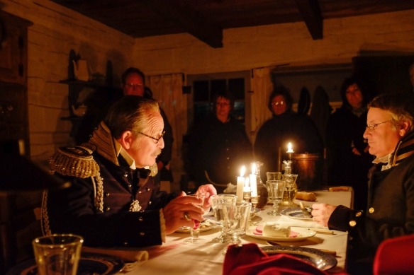 Col Tom woods as Colonel Leavenworth and bob Baker as Captain of the rifle regiment dine in the officer's dining room.