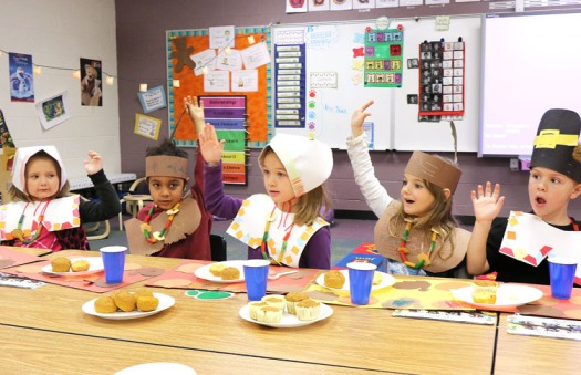 From left: Braylee Duckworth, Viny Wiulson, Josie Kros, Kasey Cottle and Anthony Turvey all raised their hands to say that they helped prepare the feast.