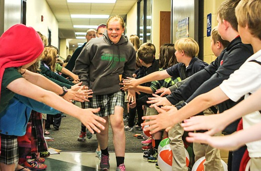 """Bergan Catholic School Sixth grade """"clap out"""" on the last day of the school year."""