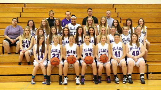 Blair Winter Sports Blair Girls Basketball Front row, from left:  Maddie Kment, Taylor Stewart, Bailie Wakefield, Mollie Nickerson, Ali Rosenbaum, Kiley Goskeer, Serena Johnson,  Row 2:  Alex Rand, Sophia Kirwan, Dallas Roach, Morgan Schenck, Isabella Grantham, Jessica Schenck, Jayme Anderson, Joanna Sandvold, Ashley Jonas, Payton Daggett. Row 3: Alex Washington (manager), Morgan Gayer, Luella Johnson, Racherl Block, Justine Chiles, Michaela Ott, Sophine Rasmussen, Mikenna Zuhlke, Taylor Smith, Stella Sather, Sarah Serrano (manager.) Back row: Kelli Ray( frosh coach) , Matt Aschoff (asst. coach), Jon Small (asst. coach), Shawn Ekwall (head coach.)