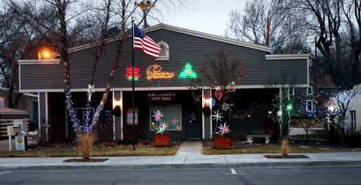 Fort Calhou City Hall shines brightly for Christmas in Calhoun.