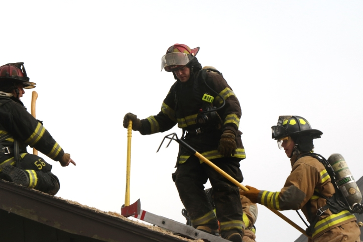 The practice burn provides an opportunity for veteran Veteran fire fighters to teach tfire fighting skills and safety.