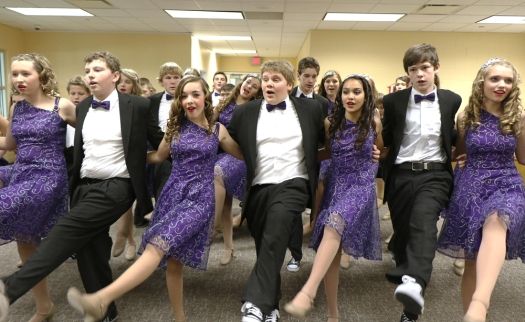 Odyssey show choir performing at Blair Family YMCA from left:  front: Madison Hilgenkamp, Cameron Gayer, Molly Kment, Andrew Sorensen, Destinea Fuhlrodt, Sam Lawton, Jill Myers.