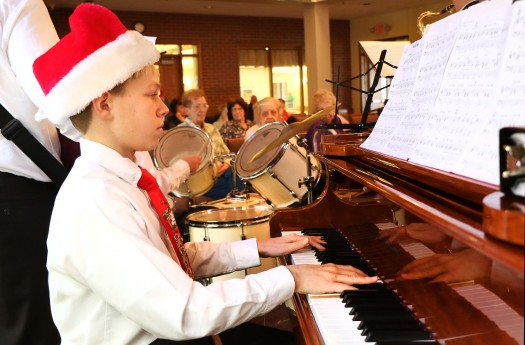 Pianist Sam Lueders performs with the Otte Middle School Jazz  Band at Good Shepherd on Dec. 9.